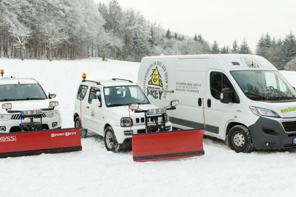 Drei Autos mit Vorrichtung zum Schneeräumen stehen nebeneinander